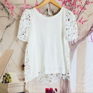 Everleigh White Lace Eyelet Puff Shoulder Blouse